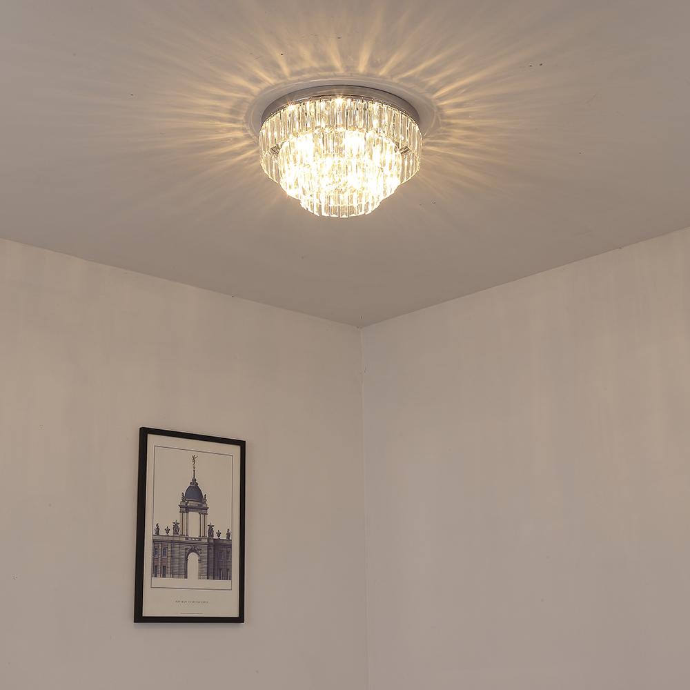 Etelux Round Crystal Ceiling Light Chandelier, Modern Crystal Pendant Lamp, Flush Mount Suspension Light Fixture for Living Room, Bedroom, Dining Room, Indoor use, Restaurant Hotel Villa Hallway