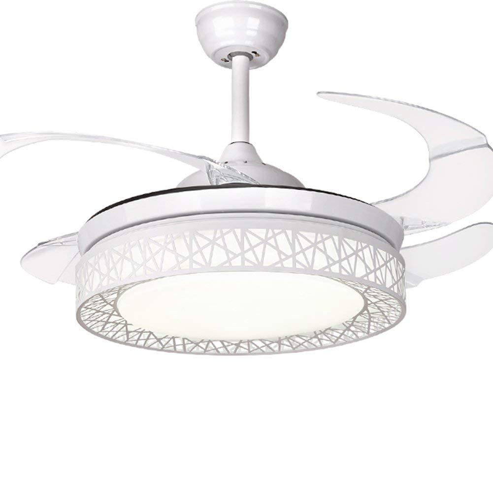 Ceiling Fan Light, Modern Dimmble Ceiling Fan with Light, 91 cm Diameter, 65 W, 4 Retractable Blades, 3 Speeds,Remote control