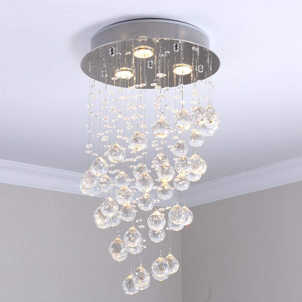 Crystal Chandelier Contemporary Ceiling Light CrystalLight Fixture with 3 ighting for Living Room Dining Room Bedroom