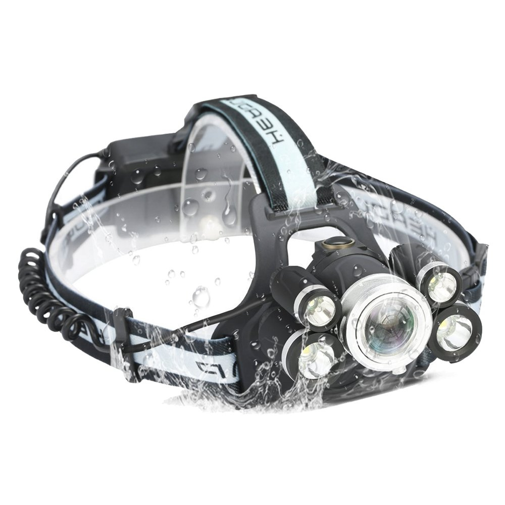 Headlamp, Flashlight, 5 Modes Brightest High 9000 Lumen LED Work Headlight,18650 USB Rechargeable Waterproof Flashlight Zoomable Work Light for Camping,Hiking, Outdoors