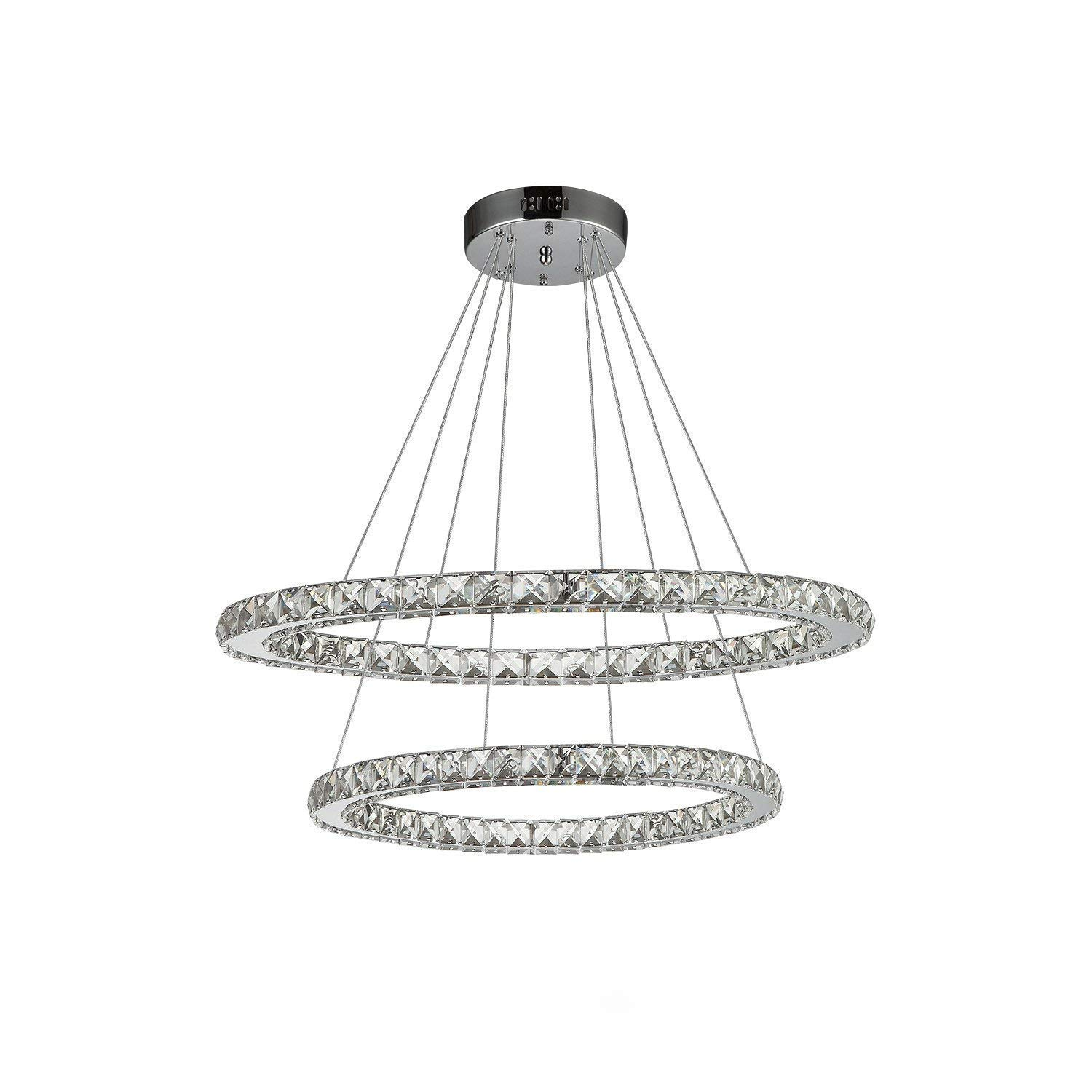 Etelux Crystal Chandelier Adjustable Contemporary Ceiling Lights Fixtures DIY Design LED Pendant Lighting Perfect for Dining Room,Entryway [Energy Class A++]