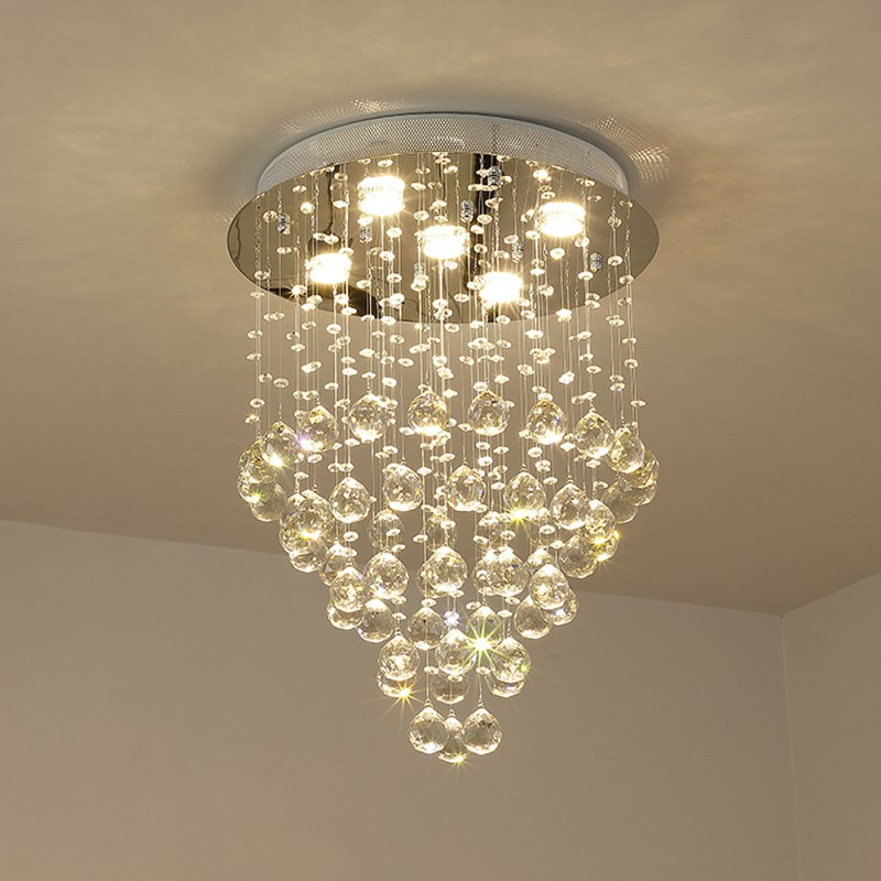 Etelux Round Crystal Ceiling Light Chandelier, Modern K9 Crystal Pendant Lamp, Flush Mount Suspension Light Fixture for Living Room, Bedroom, Dining Room, Indoor use, Restaurant Hotel Villa Hallway