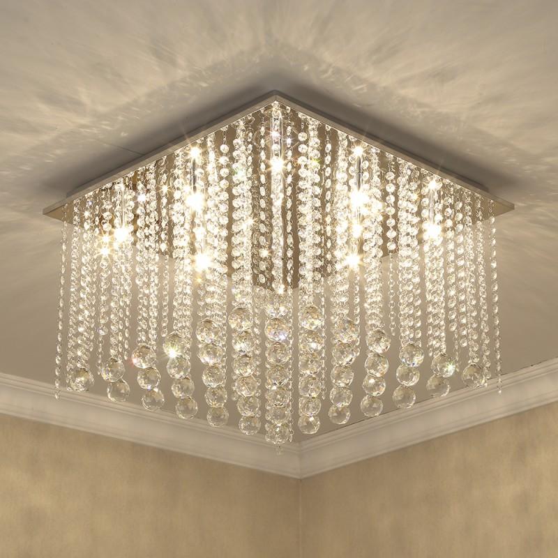 Etelux Square Crystal Chandelier Ceiling Light, Modern Crystal Pendant Lamp, Flush Mount Suspension Light Fixture for Living Room, Bedroom, Dining Room, Indoor use, Restaurant Hotel Villa Hallway